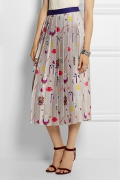 MARY KATRANTZOU Pleated printed satin-twill midi skirt