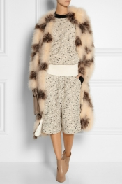 CHLOÉ Paneled silk-chiffon and feather-embellished coat