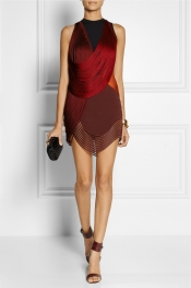 STELLA MCCARTNEY Fringed stretch-cady mini dress