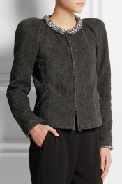 ISABEL MARANT Huntley embellished herringbone-tweed jacket