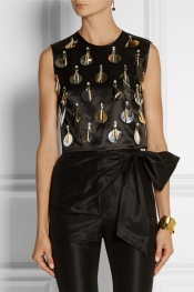 ISA ARFEN Cropped embellished wool and silk-blend top