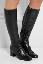 GUCCI Bottes hauteur genoux en cuir ornées de mors de cheval