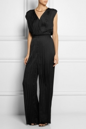 DAGMAR Evita pleated satin jumpsuit