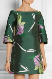 MARNI Floral-print satin-twill mini dress