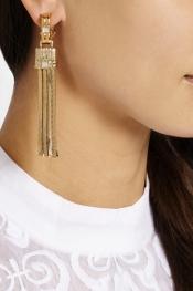 LANVIN Boucles d'oreilles clip dorées ornées de cristaux