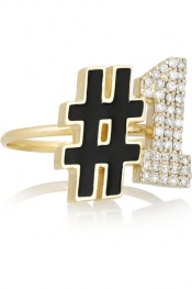 ALISON LOU #1 14-karat gold, diamond and enamel ring