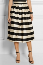 TIBI Escalante striped silk-satin midi skirt