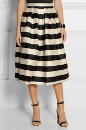 TIBI Escalante striped silk-satin midi skirt