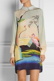 MARY KATRANTZOU Printed silk-georgette mini dress