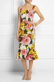 DOLCE & GABBANA Floral-print textured stretch-cotton dress