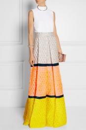 ROKSANDA ILINCIC Color-block matelassé maxi skirt