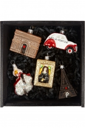 BOMBKI Little Paris set of five glass baubles