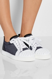CHRISTIAN LOUBOUTIN Baskets en jean et cuir ornées de clous pointus Louis Junior