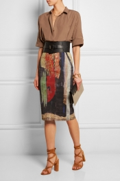 DONNA KARAN Printed linen-blend pencil skirt