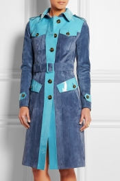 BURBERRY PRORSUM Patent leather-paneled suede trench coat