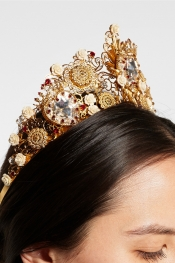 DOLCE & GABBANA Gold-tone Swarovski crystal crown