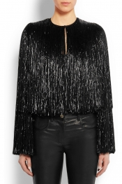 GIVENCHY Fringed jacket in black silk-satin