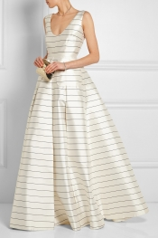 EMILIA WICKSTEAD Pearly striped silk-twill maxi skirt