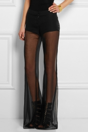 BALMAIN Silk-georgette wide-leg pants