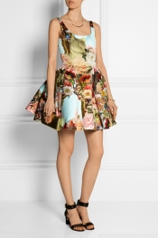 MARY KATRANTZOU Printed satin mini dress
