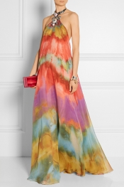 EMILIO PUCCI Embellished tie-dyed silk-chiffon gown