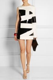 ANTHONY VACCARELLO Asymmetric crepe and PU mini dress