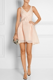 MAJE Rayure mesh-striped jersey mini dress