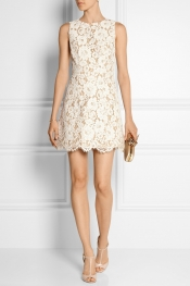 ALICE + OLIVIA Leann cotton-blend guipure lace mini dress