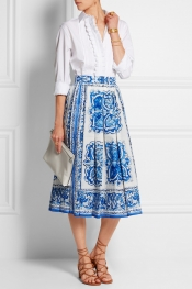 DOLCE & GABBANA Printed cotton-poplin midi skirt