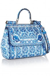 DOLCE & GABBANA Sicily printed leather shoulder bag