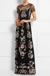 NEEDLE & THREAD Sequin-embellished tulle maxi dress