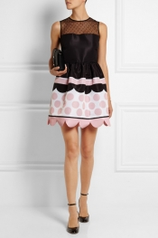 REDVALENTINO Tulle-paneled printed faille mini dress