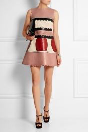 REDVALENTINO Mini-robe en cuir color-block