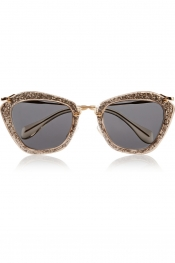MIU MIU Cat-eye glittered acetate and metal sunglasses