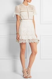 SELF-PORTRAIT Guipure lace mini skirt