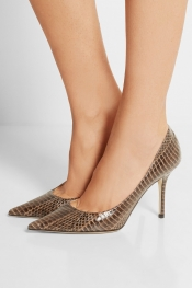 JIMMY CHOO Escarpins en couleuvre elaphe brillants Agnes