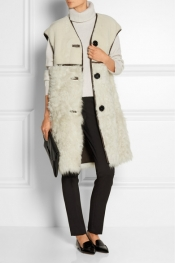 MARNI Oversized leather-trimmed shearling gilet