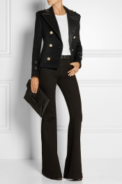 BALMAIN Leather-trimmed wool and cashmere-blend jacket