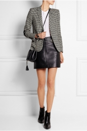 SAINT LAURENT Blazer en tweed de laine pied-de-poule à finitions en cuir