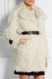 TOPSHOP UNIQUE Morrell leather-trimmed shearling coat