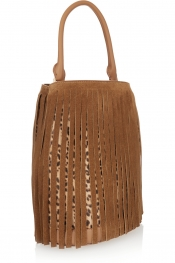 BURBERRY PRORSUM Fringed suede and leopard-print calf hair tote