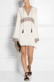 TALITHA Columba embroidered gauze mini dress