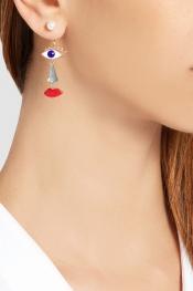 DELFINA DELETTREZ 9-karat gold, enamel and pearl earring