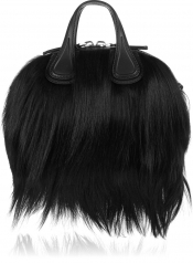 GIVENCHY Micro Nightingale shoulder bag in black goat hair and leather