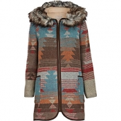 Blue print faux fur coat