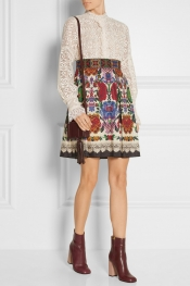 ANNA SUI Lace and cotton-blend jacquard mini dress