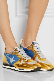 GOLDEN GOOSE DELUXE BRAND Mesh and metallic leather sneakers