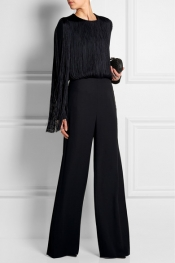 NINA RICCI Fringed stretch-jersey bodysuit