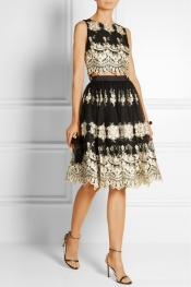 ALICE + OLIVIA Justina embroidered tulle skirt
