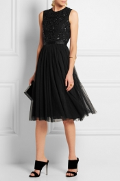 NEEDLE & THREAD Embellished crepe and tulle dress